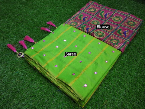 Parrot Green Color Sana Panter Silk Saree - RD-54
