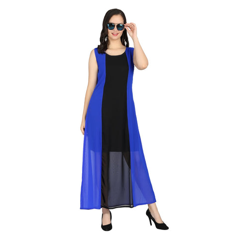 Blue Color Georgette Stitched Long Dress - RDW-11028-Blue