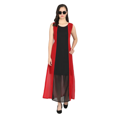 Red Color Georgette Stitched Long Dress - RDW-11028-Red