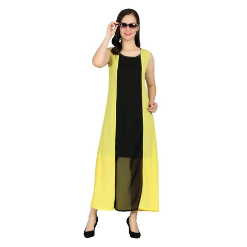 Yellow Color Georgette Stitched Long Dress - RDW-11028-Yellow