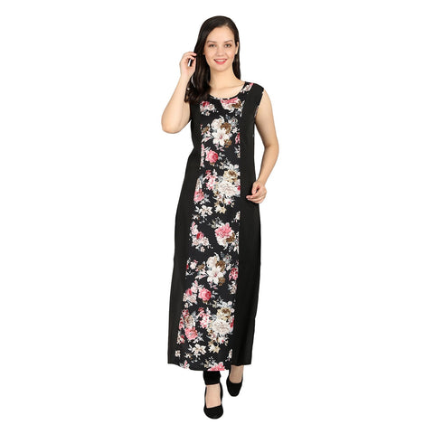 Black Color Georgette Stitched Long Dress - RDW-11028