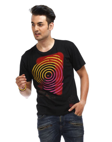 Black Color Cotton Men T-Shirt - REB-Black