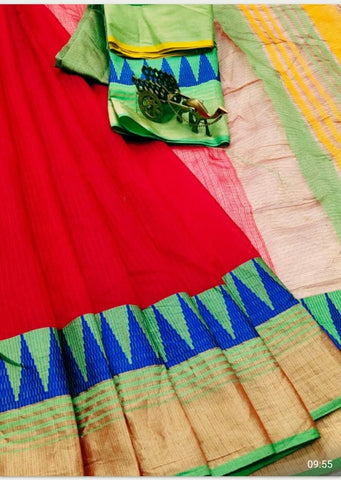 Red Color Kota Doriya Saree - RED-LAXMINARAYAN
