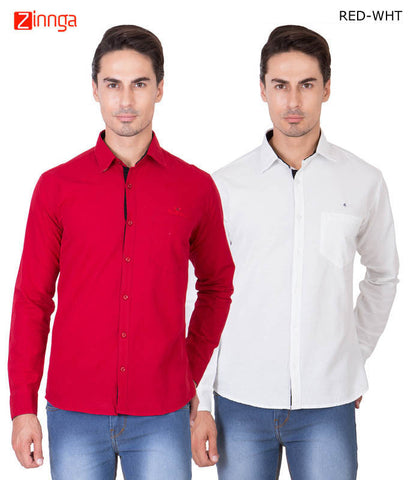 AMERICAN ELM-Men's Pure Cotton Formal Shirts - RCS-12-K- RED-WHT