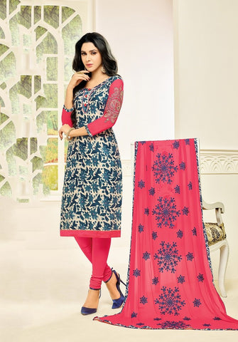 Navy Blue Color Cotton Blend UnStitched Salwar  - RED2803