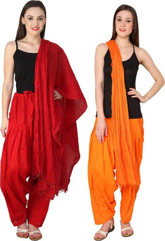 COMBOS - Redorange Color Cotton Stitched Women Patiala Pants With Dupata - Redorange