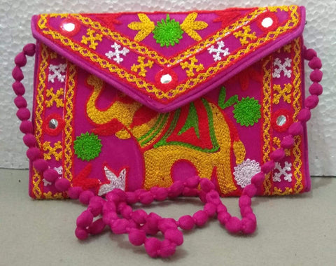 Pink Color Velvet Rajastani Embroidery Hand Clutch - REHC-2