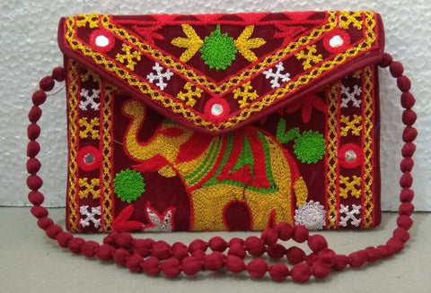 Maroon Color Velvet Rajastani Embroidery Hand Clutch - REHC-3