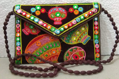 Brown Color Velvet Rajastani Embroidery Hand Clutch - REHC-6