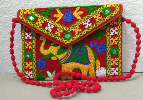 Red Color Velvet Rajastani Embroidery Hand Clutch - REHC-7