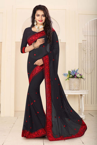 Black Color Georgette Saree - RESHAM-861