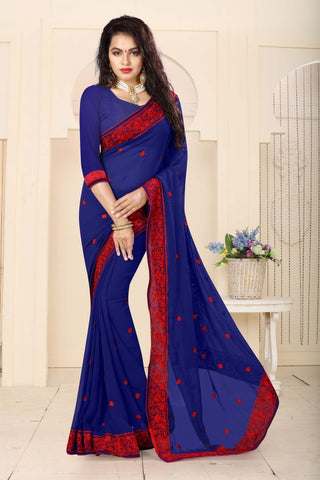 Navy Color Georgette Saree - RESHAM-862