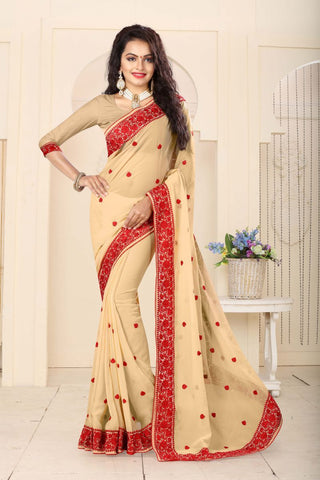 Chiku Color Georgette Saree - RESHAM-863