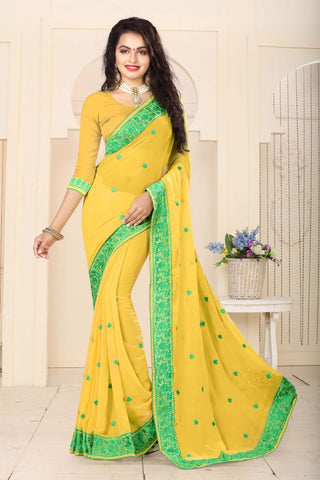 Light Yellow Color Georgette Saree - RESHAM-866