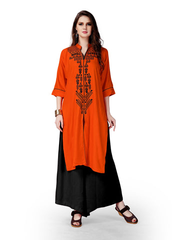 Orange Color Rayon Stitched Kurti - RF-001