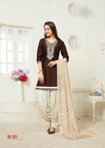 Brown Color Jam Silk Cotton Semi Stitched Salwar - RF-1031