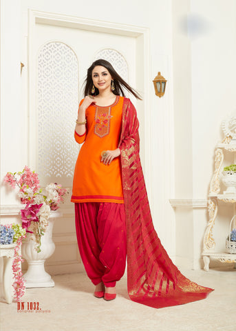 Orange Color Jam Silk Cotton Semi Stitched Salwar - RF-1032