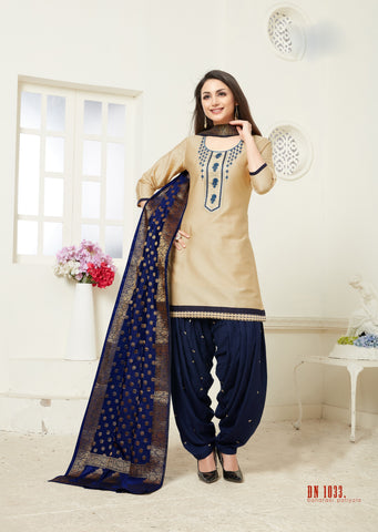 Cream Color Jam Silk Cotton Semi Stitched Salwar - RF-1033