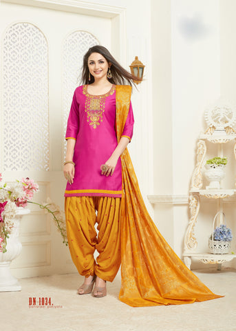 Pink Color Jam Silk Cotton Semi Stitched Salwar - RF-1034
