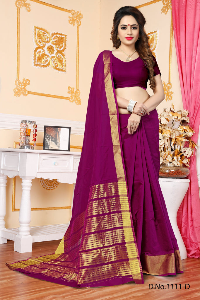 Buy Magenta Color Banarasi Saree