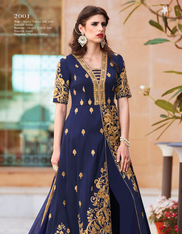Navy Blue Color Heavy Tafeta Silk Gown - RF-GULZAR-2001