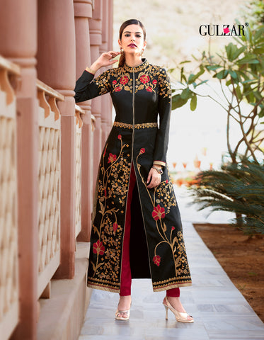 Black Color Heavy Tafeta Silk Gown - RF-GULZAR-2003
