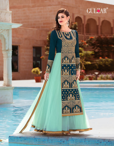 Teal and Light Blue Color Banglori Silk Gown - RF-GULZAR-2004