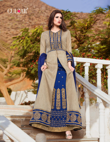 Grey and Blue Color Filament Silk Gown - RF-GULZAR-2005