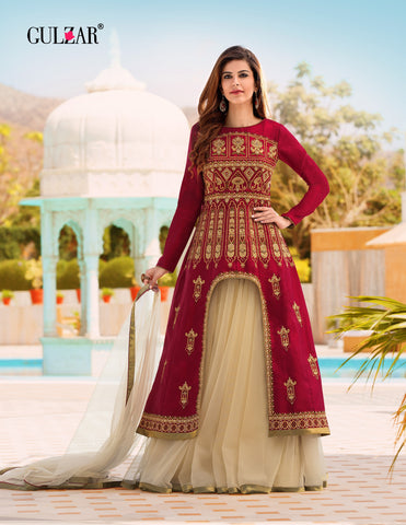 Maroon and Beige Color Satin Banglori Silk Gown - RF-GULZAR-2007