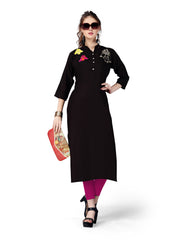 Black Color Rayon ReadyMade Kurti