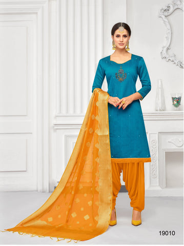 Blue Color South Silk  Dobi jaquard Unstitched  Salwar RFDM-19010