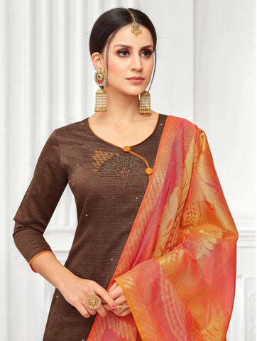 Dark brown Color South Silk  Dobi jaquard Unstitched  Salwar RFDM-19011