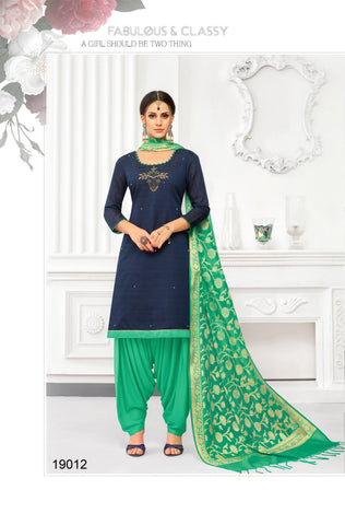 Navy Blue Color South Silk  Dobi jaquard Unstitched  Salwar RFDM-19012