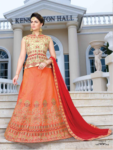 Orange Color Silk Semi Stitched lehanga RFFS-10611