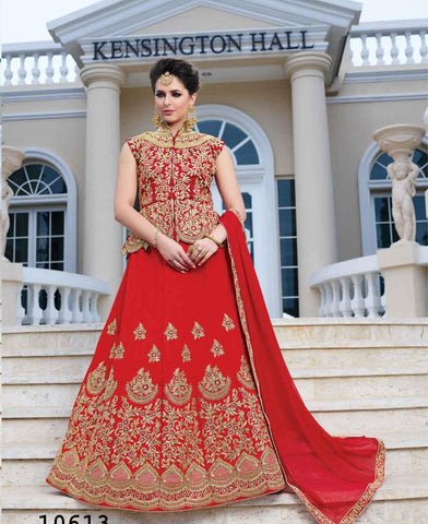 Red Color Silk Semi Stitched lehanga RFFS-10613