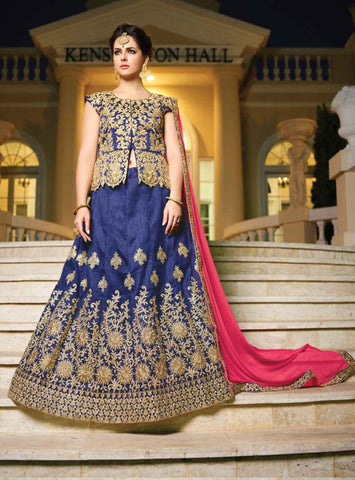 Navy Blue Color Silk Semi Stitched lehanga RFFS-10614