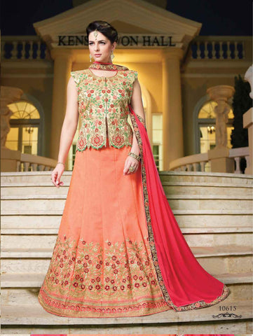 Pink Color Silk Semi Stitched lehanga RFFS-10615