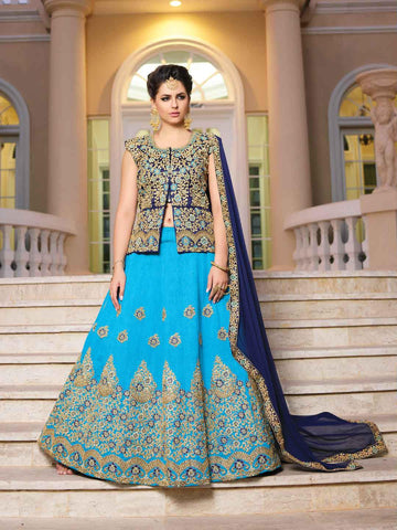 Blue Color Silk Semi Stitched lehanga RFFS-10618