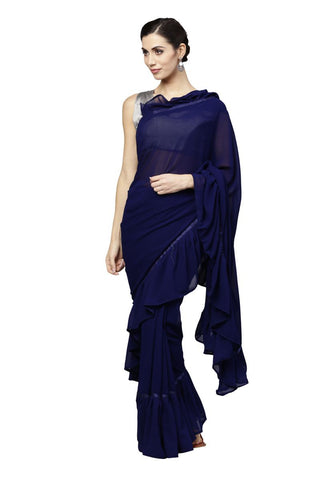 Navy Blue Color Georgette Saree - RFLS903