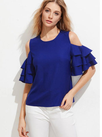 Royal Blue Color Crepe Womens  Top - RFTs-10 2018