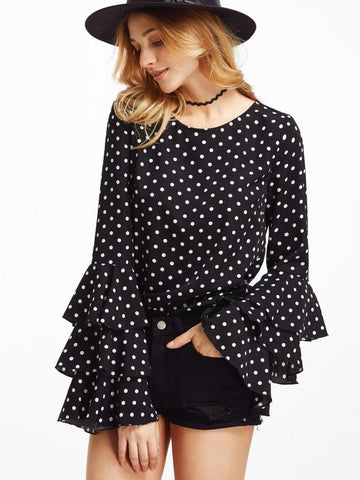 Polka Dott Color Crepe Womens  Top - RFTs-11 2018