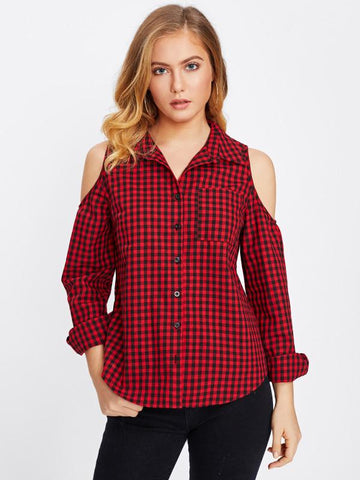 Red and BlackCheck Color Cotton Womens  Shirt - RFTs-12 2018