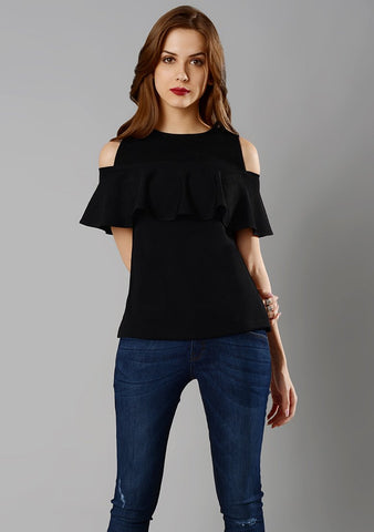 Black Color Crepe Womens  Top - RFTs-14 2018
