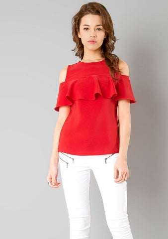 Red Color Crepe Womens  Top - RFTs-15 2018