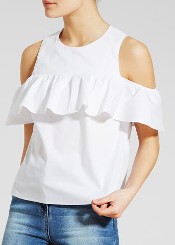 White Color Crepe Womens  Top - RFTs-17 2018
