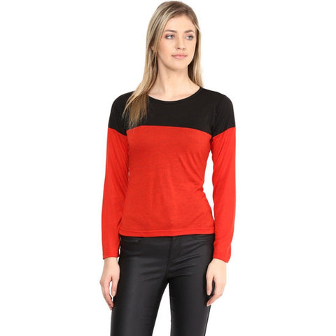 Red and Black Color Visocose Womens  Top - RFTs-18 2018