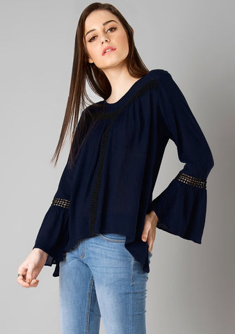 Navy Color Rayon Womens  Top - RFTs-24 2018