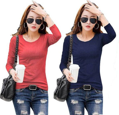 Navy and Red Color Cotton Womens  T-Shirt - RFTs-6 2018