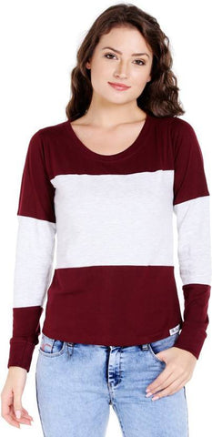 Maroon and White Color Cotton Womens  T-Shirt - RFTs-8 2018