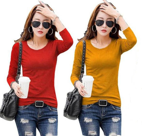 Red and Mustard Color Cotton Womens  T-Shirt - RFTs-9 2018